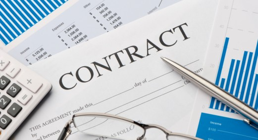 Contract form on a desk