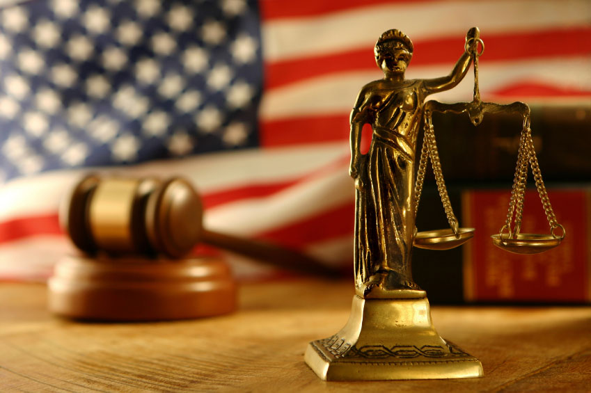 Gavel, American Flag and Scales